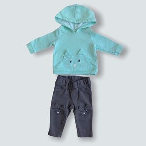 ⭐️2/$28 Carter's Kitty-Cat Hoodie & Pant Outfit